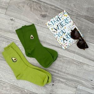 Cute Green Summer Socks with Avocado Patches NWOT